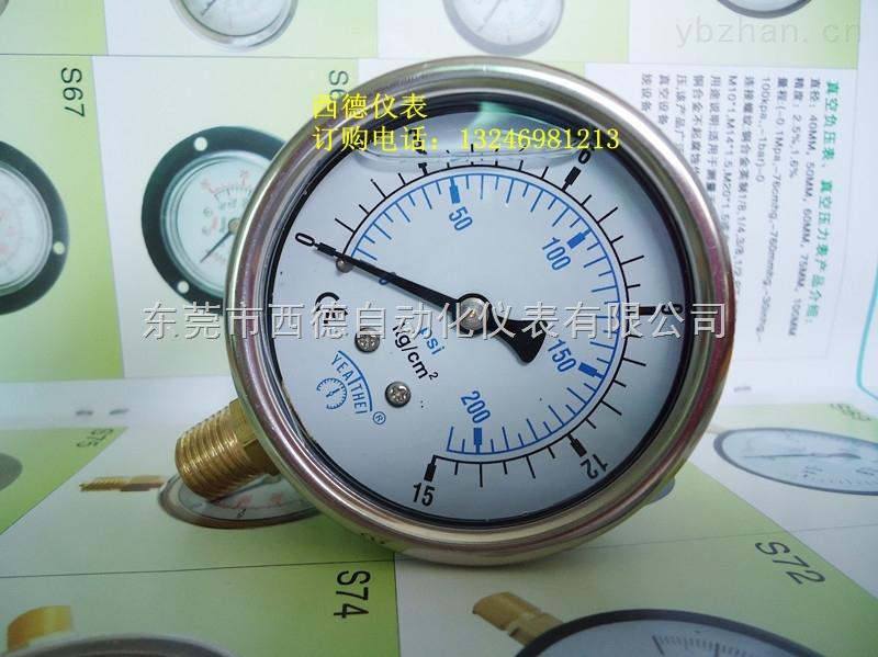 60MM-60MM直立式充油防震空压机气压表