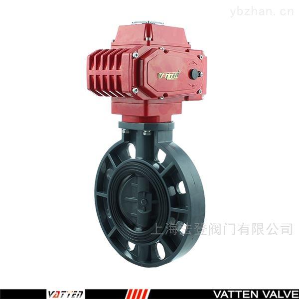 UPVC电动工业排污蝶阀 电动塑料耐酸碱蝶阀