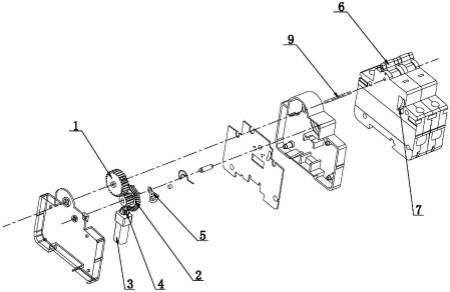 结构简单,降低了生产成本;如若让小型断路器分闸,只需驱动电机继续