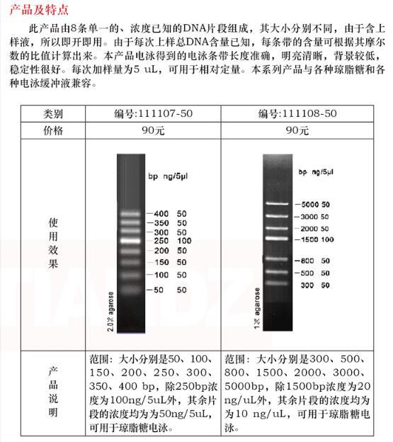dna 电泳分子量标准 (50-500 bp)50 次图片